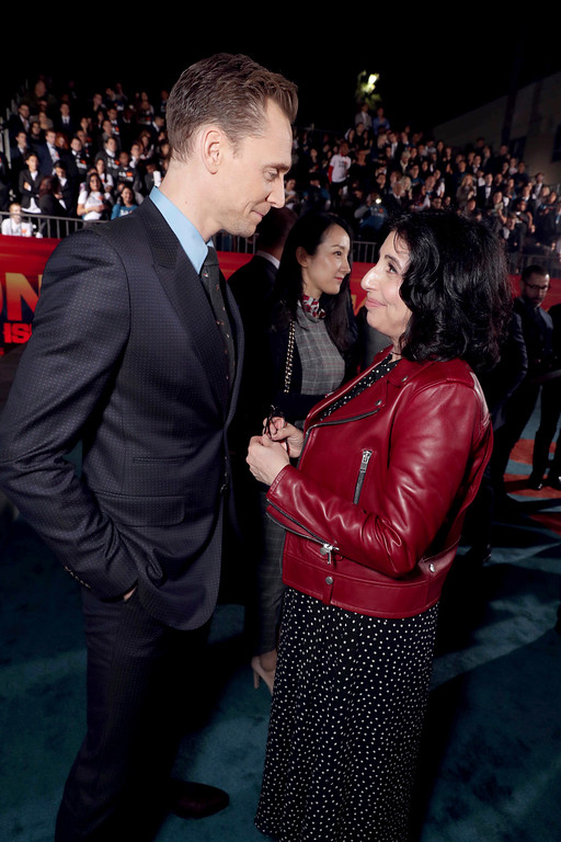 """. Tom Hiddleston and Sue Kroll, President, Worldwide Marketing and Distribution, Warner Bros. Pictures, seen at Warner Bros. Pictures and Legendary Pictures Present the Los Angeles Premiere of \""""Kong: Skull Island\"""" at Dolby Theatre on Wednesday, March 8, 2017, in Los Angeles. (Photo by Eric Charbonneau/Invision for Warner Bros./AP Images)"""