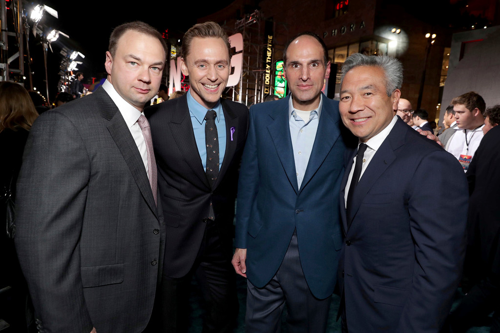 """. Producer Thomas Tull, Tom Hiddleston, Producer Jon Jashni and Kevin Tsujihara, Chairman and CEO of Warner Bros., seen at Warner Bros. Pictures and Legendary Pictures Present the Los Angeles Premiere of \""""Kong: Skull Island\"""" at Dolby Theatre on Wednesday, March 8, 2017, in Los Angeles. (Photo by Eric Charbonneau/Invision for Warner Bros./AP Images)"""