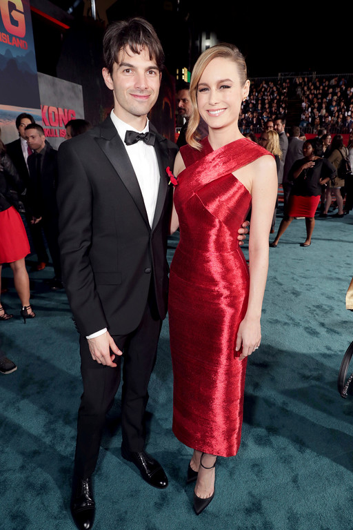 """. Alex Greenwald and Brie Larson seen at Warner Bros. Pictures and Legendary Pictures Present the Los Angeles Premiere of \""""Kong: Skull Island\"""" at Dolby Theatre on Wednesday, March 8, 2017, in Los Angeles. (Photo by Eric Charbonneau/Invision for Warner Bros./AP Images)"""