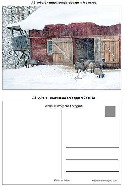 Exempel  på färdigt vykort