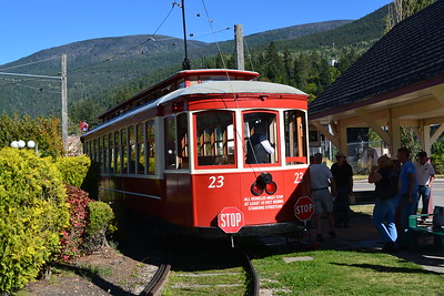 Restored Tram operating near the lake in Nelson