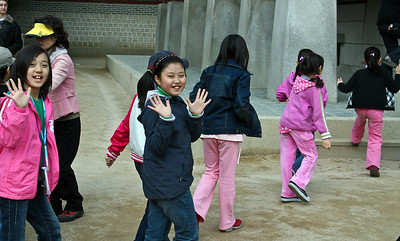 Korean Kids on Day Outing Near Folk Museum