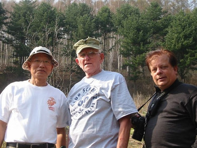 "(left to right) Y.O. ""Andy"" Ahn, Korea War Vet, ROK Marine Corps; Norman Callohan, USMC C-1-1, Tom Coyner, photogapher."