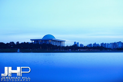 Capitol Buidling in Seoul as seen from the Han River. Print KOR3B-919-219
