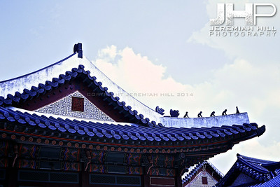 Korean Temple architecture. Changdeok Palace, central Seoul. Print KOR3B-83-090