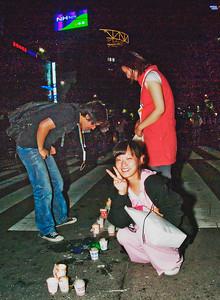 "Ubiquitous ""peace pose"" for the camera at Jongro 1-ga."