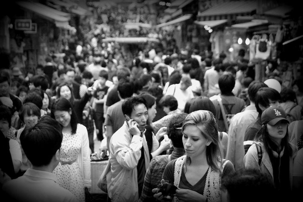 Audrey Bergner (That Backpacker) caught in a crowd at Namdaemun Market - Seoul, Korea