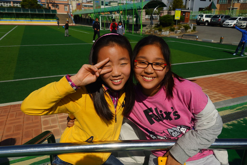 Korean Girls Smiling at a Korean Elementary School Singing Festival Competition