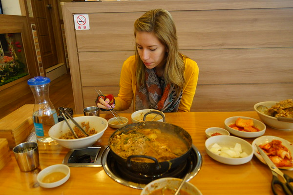 Eating lunch at a local Korean restaurant