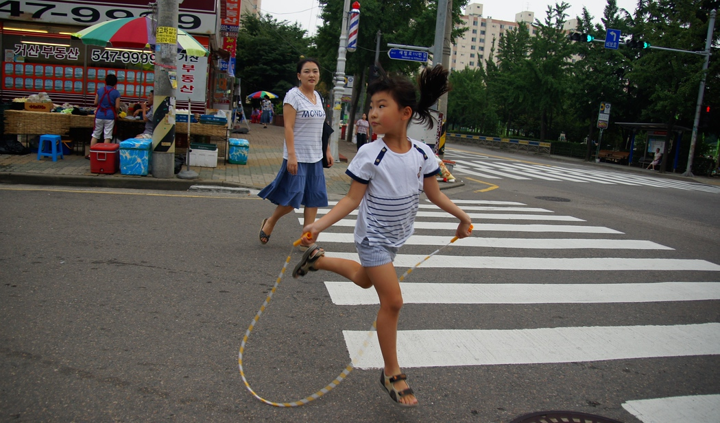 Girl with a jump rope in Incheon, South Korea