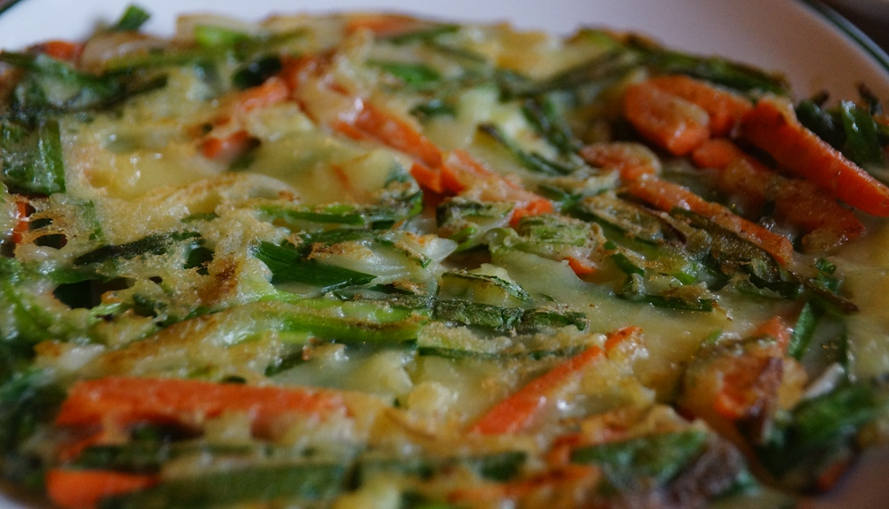 Today's daily travel photo is of Korean Seafood Pancake known as Haemul Pajeon (해물파전) consisting of green onions, batter and seafood.