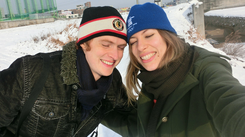 Audrey and Samuel in Korea during winter