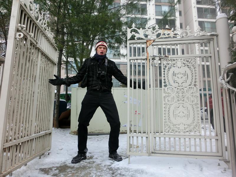 Sam in Korea during winter
