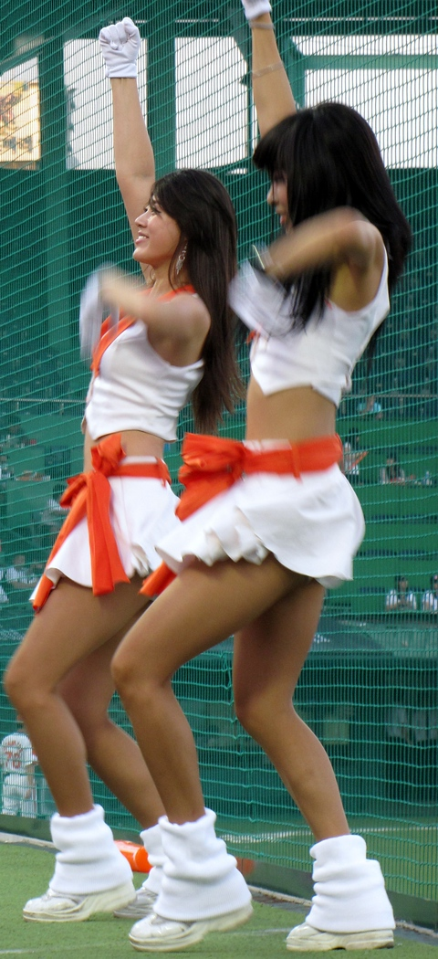 Korean cheerleaders performing at a Hanhwa Eagles baseball game - Daejeon, Korea. To view my travel gallery from Hanwha Eagles click on the photo.