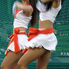 """Korean cheerleaders performing at a Hanhwa Eagles baseball game - Daejeon, Korea. To view my travel gallery from Hanwha Eagles click on the photo. <a href=""""http://nomadicsamuel.com"""">http://nomadicsamuel.com</a>"""