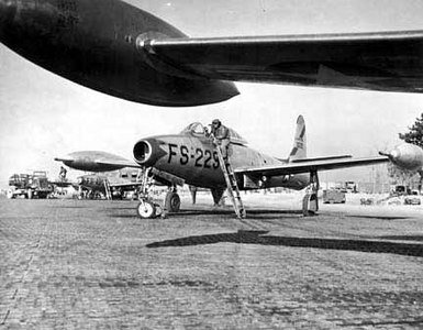 F-84 fighter aircraft from the Texas National Guard participated in experimental air-to-air refeuling under combat conditions while serving in Korea.