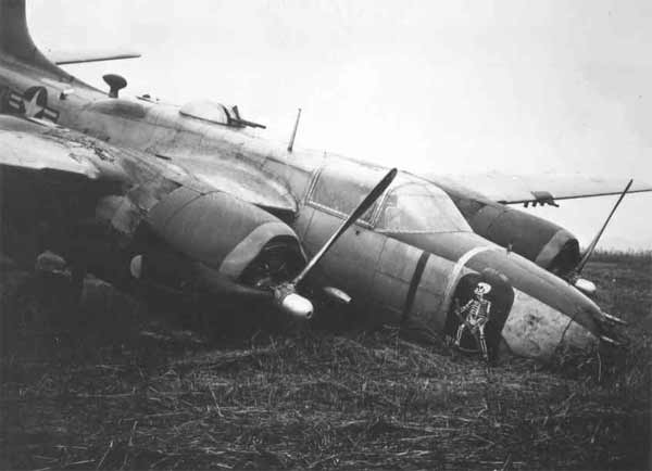 A crashed B-26 from the 13th Bomb Squadron during the Korean War.