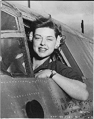 Harlingen Army Air Field, Texas--Elizabeth L. Gardner of Rockford, Illinois, WASP (Women's Airforce Service Pilot) pilot, takes a look around before sending her plane streaking down the runway at the air base.