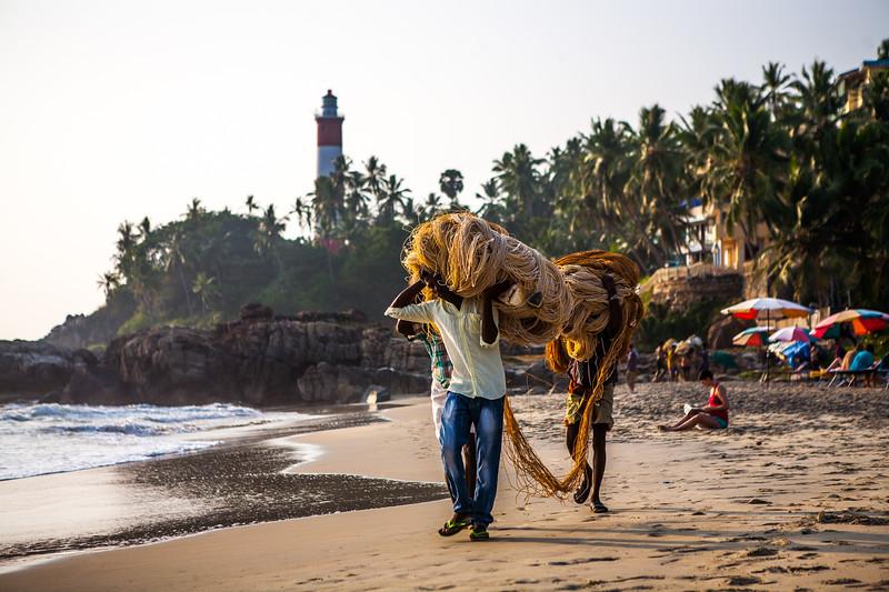 Fishermen at Kovalam beach, Kerala, India