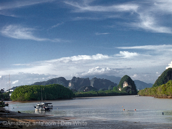 Krabi Town with a view of the Krabi River and the Kanab Nam limestone mountains.