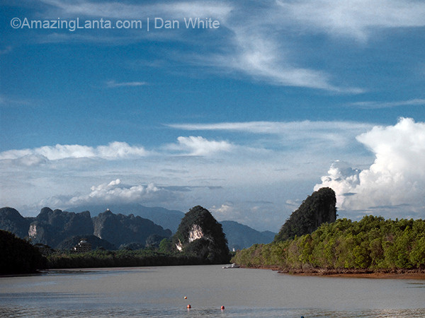 Kanab Nam Mountain and the Krabi River, Krabi Town, Thailand.