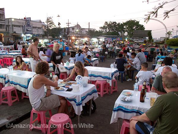 Night Market eating. Chao Fah Pier. Krabi Town. Thailand.