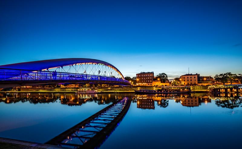 Podgorze Bridge Reflection at Dusk