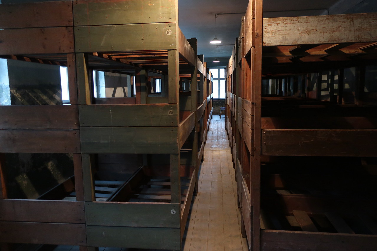 Bunks inside the brick buildings in Auschwitz
