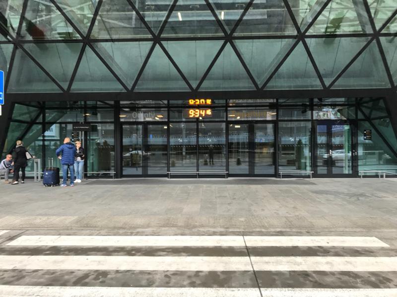 Main entrance for Krakow Airport Departures