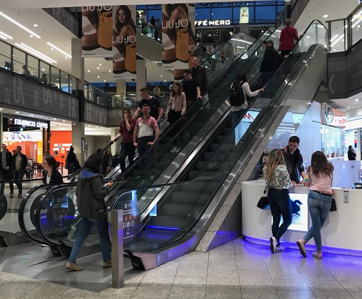Escalator leading out of Galeria Krakowska