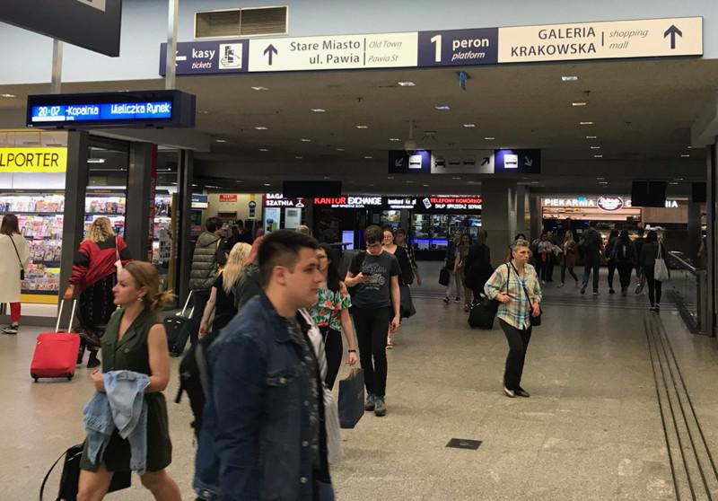 Exit from Kraków Główny train station