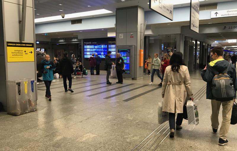 Departure board in Krakow Glowny train station