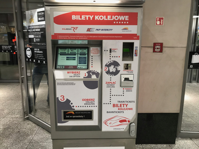 Ticket machine just outside Krakow Glowny train station