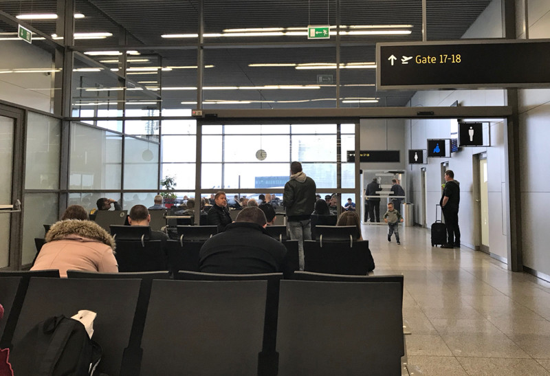 Schengen waiting area Krakow Airport