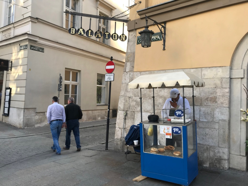 Obwarzanek vendor on Grodzka Street