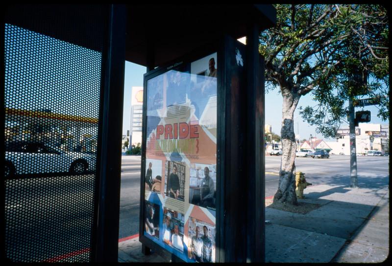 Reiss poster in situ, 3rd Street adjacent to Park La Brea, Los Angeles, 2005