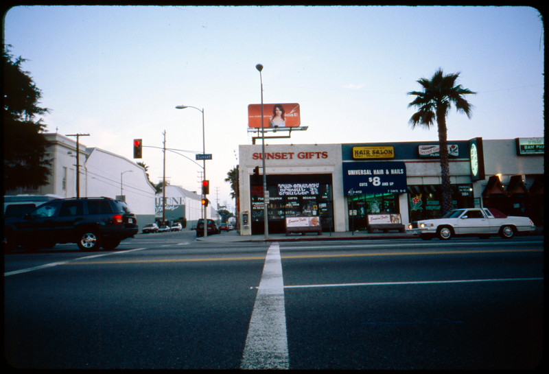 Reiss poster in situ, 3rd Street adjacent to Park La Brea, Los Angeles, 2005