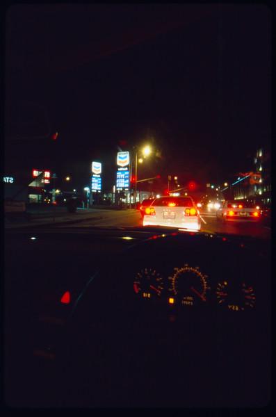 Driving to Santa Monica College at night, Santa Monica, 2005