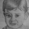 Disgruntled Toddler - Pencil Sketch using a grid process inspired by Chuck Close