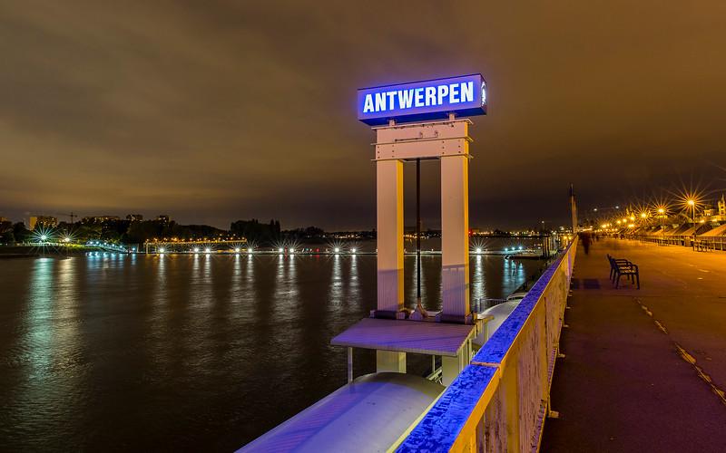 Footbridge over the Schelde, Antwerp.   Remembering the first World War - October 2014