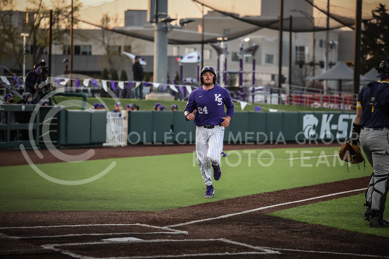 Sophomore Dylan Phillips bringing in another run on Wednesday's game (April 14, 2020) against the University of Northern Colorado at Tointon Baseball Stadium. <br /> Elizabeth Proctor Collegian Media Group
