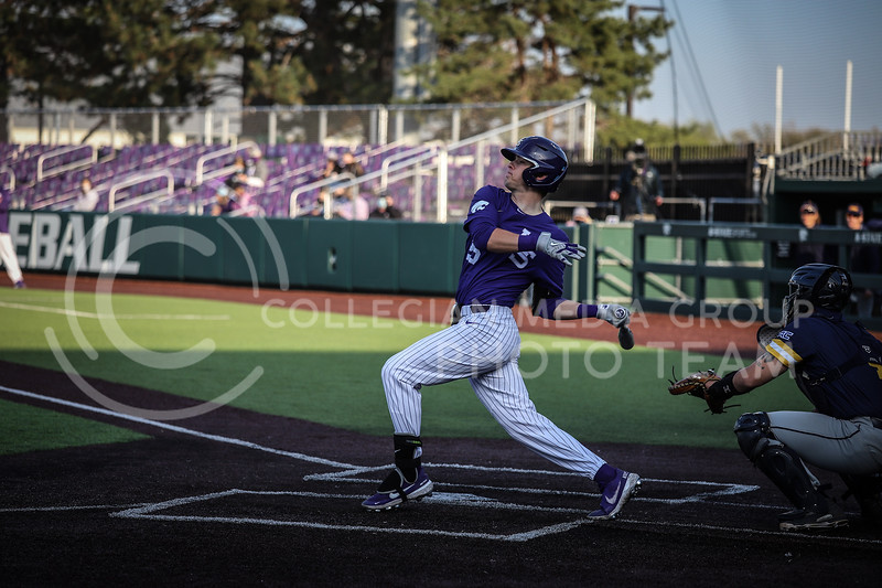 Freshman Nick Goodwin up to bat and swinging on Wednesday's game (April 14, 2020) against the University of Northern Colorado at Tointon Baseball Stadium. <br /> Elizabeth Proctor Collegian Media Group