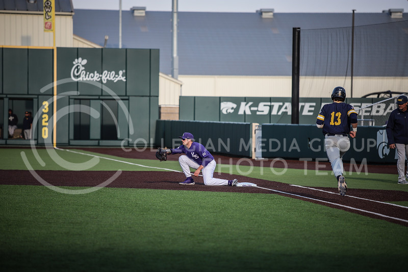 Sophomore Dylan Phillips waiting for a throw at first base to get an out on Wednesday's game (April 14, 2020) against the University of Northern Colorado at Tointon Baseball Stadium. <br /> Elizabeth Proctor Collegian Media Group