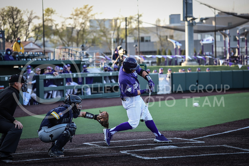 Senior Chris Ceballos up to bat and swinging on Wednesday's game (April 14, 2020) against the University of Northern Colorado at Tointon Baseball Stadium. <br /> Elizabeth Proctor Collegian Media Group