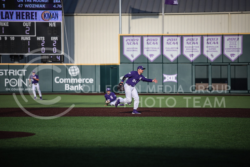 Sophomore Dylan Phillips assisting in a play on Wednesday's game (April 14, 2020) against the University of Northern Colorado at Tointon Baseball Stadium. <br /> Elizabeth Proctor Collegian Media Group