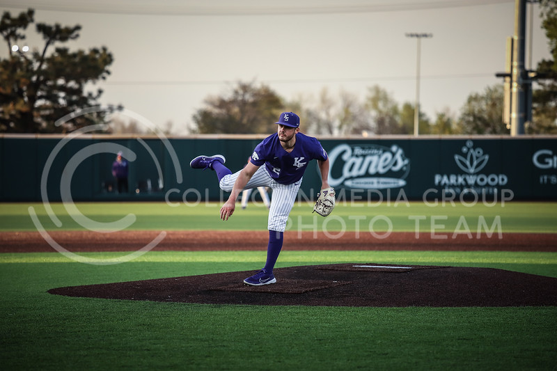 Junior Jaxson Passino throwing a pitch on Wednesday's game (April 14, 2020) against the University of Northern Colorado at Tointon Baseball Stadium. <br /> Elizabeth Proctor Collegian Media Group