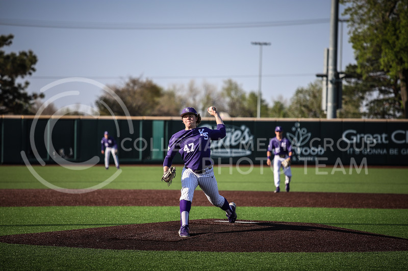 Freshman pitcher Brett Wozniak throwing a pitch on Wednesday's game (April 14, 2020) against the University of Northern Colorado at Tointon Baseball Stadium. <br /> Elizabeth Proctor Collegian Media Group