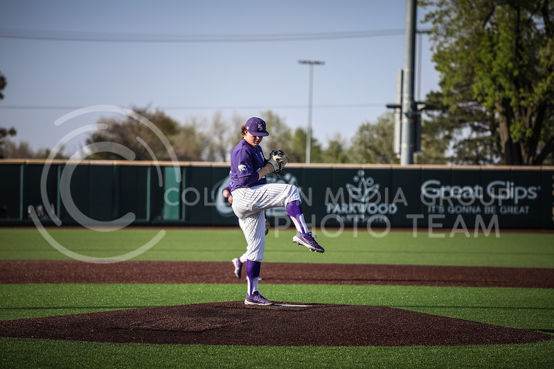 Freshman pitcher Brett Wozniak throwing a pitch on Wednesday's game (April 14, 2020) against the University of Northern Colorado at Tointon Baseball Stadium. (Elizabeth Proctor l Collegian Media Group).