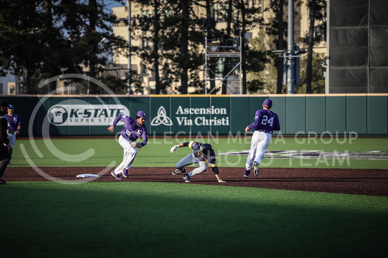 Junior Cameron William running to tag a player for an out on Wednesday's game (April 14, 2020) against the University of Northern Colorado at Tointon Baseball Stadium. <br /> Elizabeth Proctor Collegian Media Group