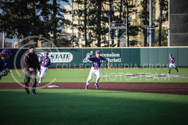 Junior Chris Herb assisting in a play to an out at first base on Wednesday's game (April 14, 2020) against the University of Northern Colorado at Tointon Baseball Stadium. <br /> Elizabeth Proctor Collegian Media Group